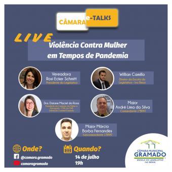 Legislativo promove live sobre Violência contra a mulher