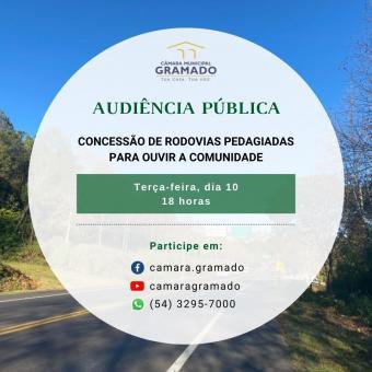 Concessão de rodovias: Câmara de Gramado promove audiência pública para ouvir a comunidade